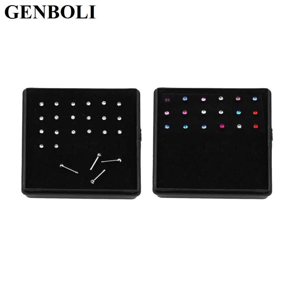 GENBOLI 24 pcs/set Stainless Surgical Steel Rhinestone Nose Piercing Stud Straight Pins Bars Fashion Body Jewelry