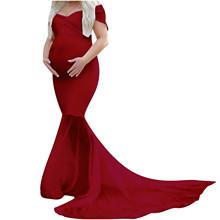 Odzież ciążowa sukienka w ciąży matka szyfonowa sukienka kobiety Sexy Off ramię ciąża sukienka dla ciężarnych sesja zdjęciowa odzież tanie tanio ISHOWTIENDA MATERNITY CN (pochodzenie) CZTERY PORY ROKU POLIESTER Na co dzień Naturalny kolor Kostek Trąbka syrena V-neck