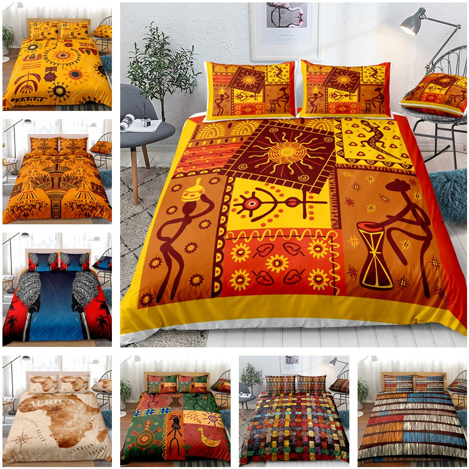 African Print Bedding Sets Bed Sets Duvet Cover Set Pillow Covers Luxury Bohemia Decoration Textile Bohemian Style NO Bed Sheet