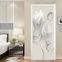 Дверная наклейка Современные Простые белые цветы гостиная спальня