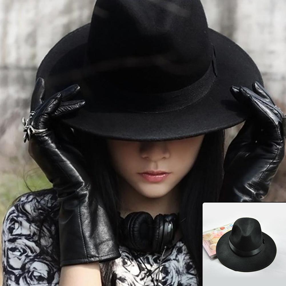 >Wide Brim Autumn Female Fashion <font><b>Top</b></font> hat Jazz <font><b>Cap</b></font> Winter Fedora Hat For Women <font><b>Wool</b></font> Hat Fashion Chapeau Femme Black Hats