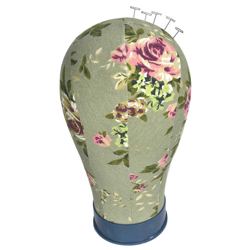 طباعة زهرة قماش مغطاة كتلة المعرضة شعر مستعار الوقوف رئيس 22 بوصة متوسط الحجم المستخدمة لصنع شعر مستعار ، وعرض قبعة