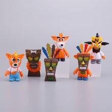 6 pçs/set Crash Bandicoot Figura de Ação Brinquedos PVC Modelo Dolls Para Presente Das Crianças