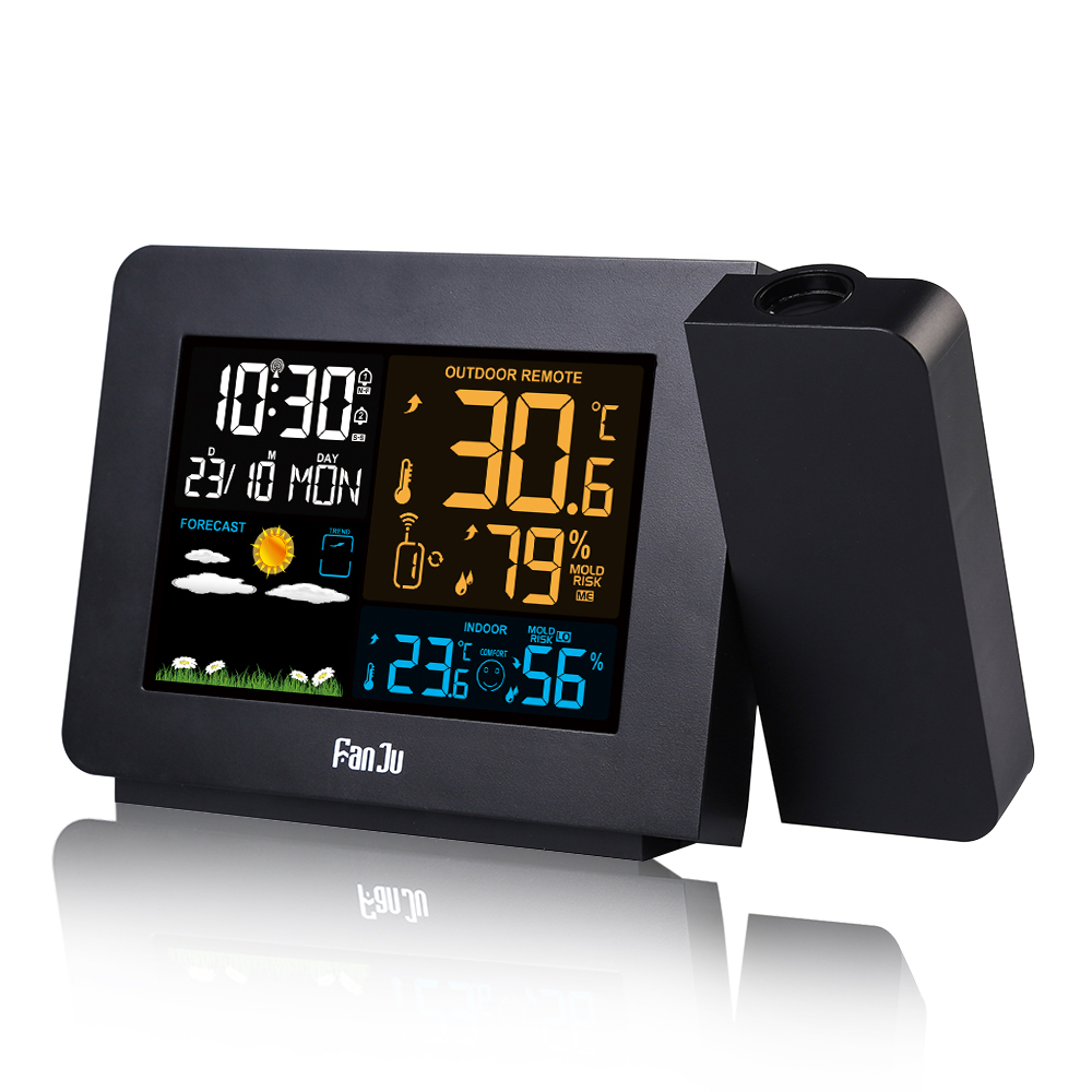 FanJu LCD Alarm Clock Weather Station With Projection Weather Monitor DCF Radio Control Calendar 7 Languages Hot