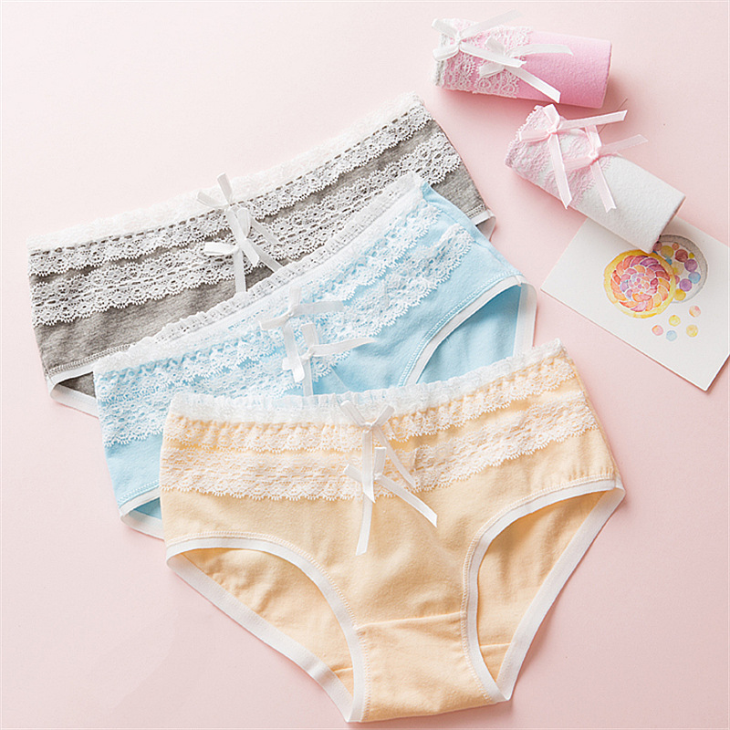 Women's cute panties cotton layer lace bow women's panties  panties women women underwear