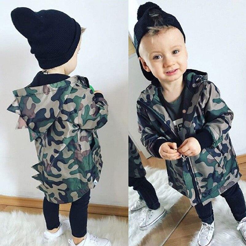 Camouflage Jacket Dinosaur Toddler Baby-Boy Outwear Coat-Top Hooded Zipper Autumn New