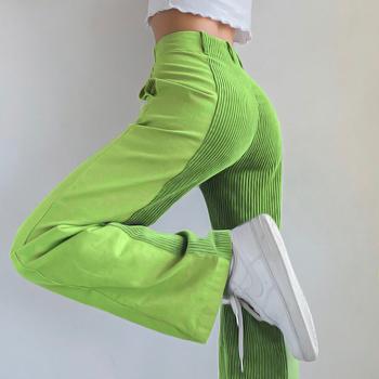 Vintage 90S połatane spodnie sztruksowe kobiety moda 2020 Harajuku Y2K e-girl długie wysokie talii proste spodnie spodnie na jesień kobiet tanie i dobre opinie Rapwriter Poliester Pełnej długości CN (pochodzenie) Wiosna jesień RAPP8889W0J Patchwork Streetwear Mieszkanie REGULAR