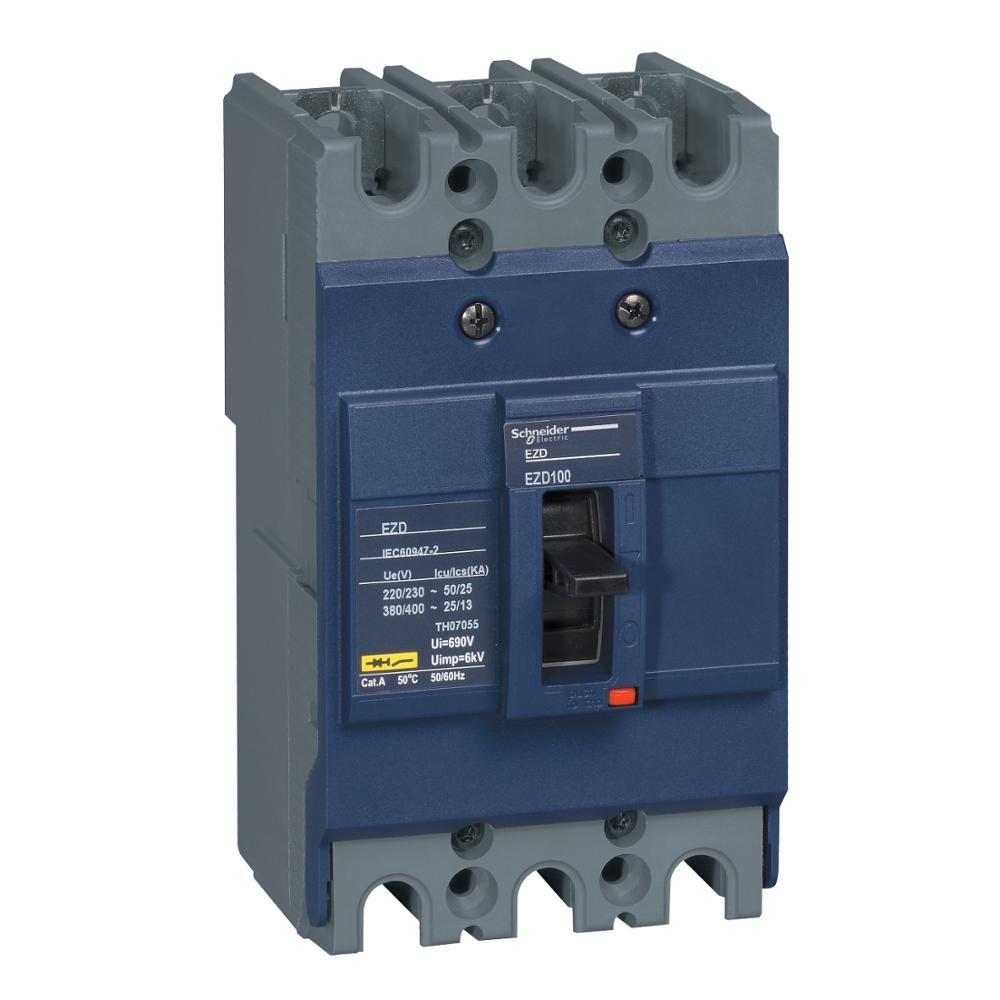 Купить с кэшбэком Leakage protection molded case circuit breaker air switch EZD-100M 3P 40A 50A 60A 75A 80A 100A fixed type 380 /400VAC 35KA