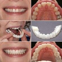 1Pair Silicone Upper/Lower False Teeth Veneers Dentures Fake Tooth