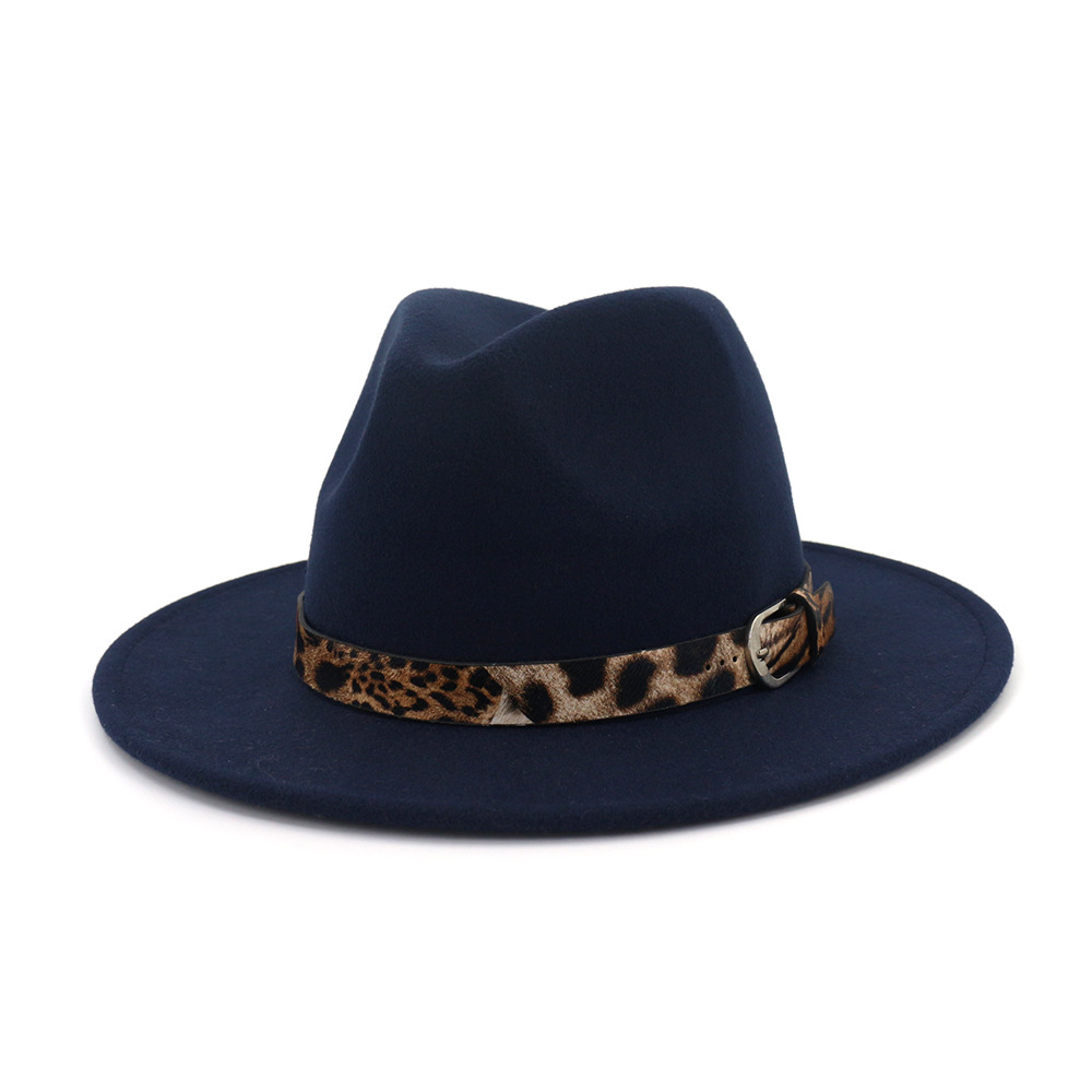 New Wool Fedora Hat Hawkins Felt Cap Wide Brim Women Men Jazz <font><b>Church</b></font> Godfather Panama Cap With Leopard Leather belt image