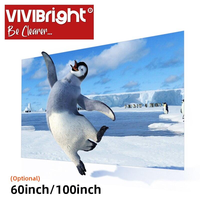 VIVIBright-pantalla para proyector, Anti-luz, de tela reflectante 16:9, 60/100/120/130 pulgadas, para LED y 4K, proyector láser de tiro corto Toalla de piel auténtica, piel de oveja natural, pantalla de limpieza de alta gama, absorbente de piel de oveja para coche