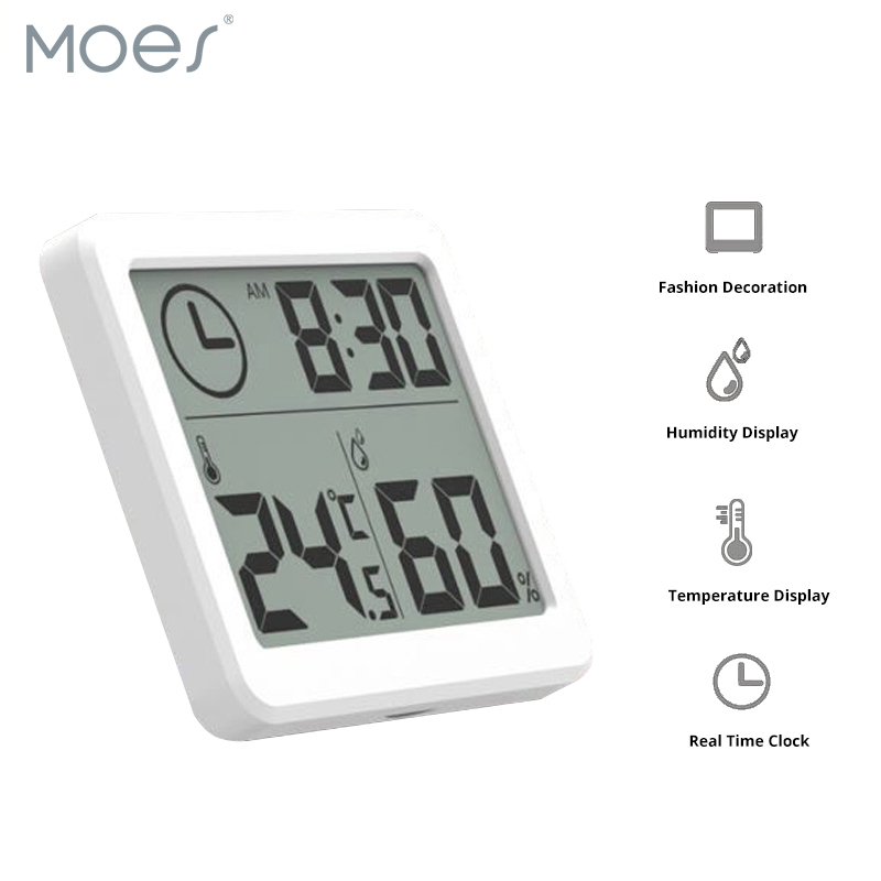 Thermometer Hygrometer Automatic Electronic Temperature Humidity Monitor Clock 3.2inch Large LCD Screen