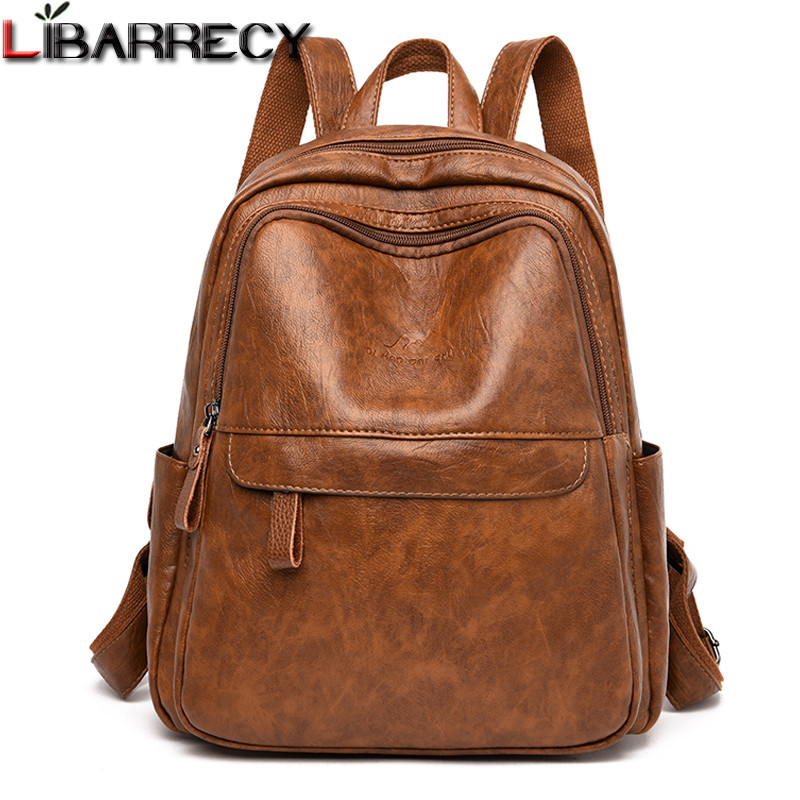 Fashion Brand Leather Women Backpacks 2019 Mochila Designer School Bags For Teenage Girls Luxury Large Capacity Travel Backbags