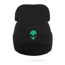 2020 вязаная зимняя шапка символ пришельцев вязать шляпы для женщины и мужчины свободного покроя вышивка хлопок шляпа зимние skullies шапочки