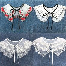 Женщины фрукты точка принт поддельные воротник цветок бант свитер платье шаль одежда накидка