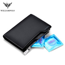Genuine Leather Luxury Brand Wallet Men wallet with removable card slots multifunction men purse male clutch top quality
