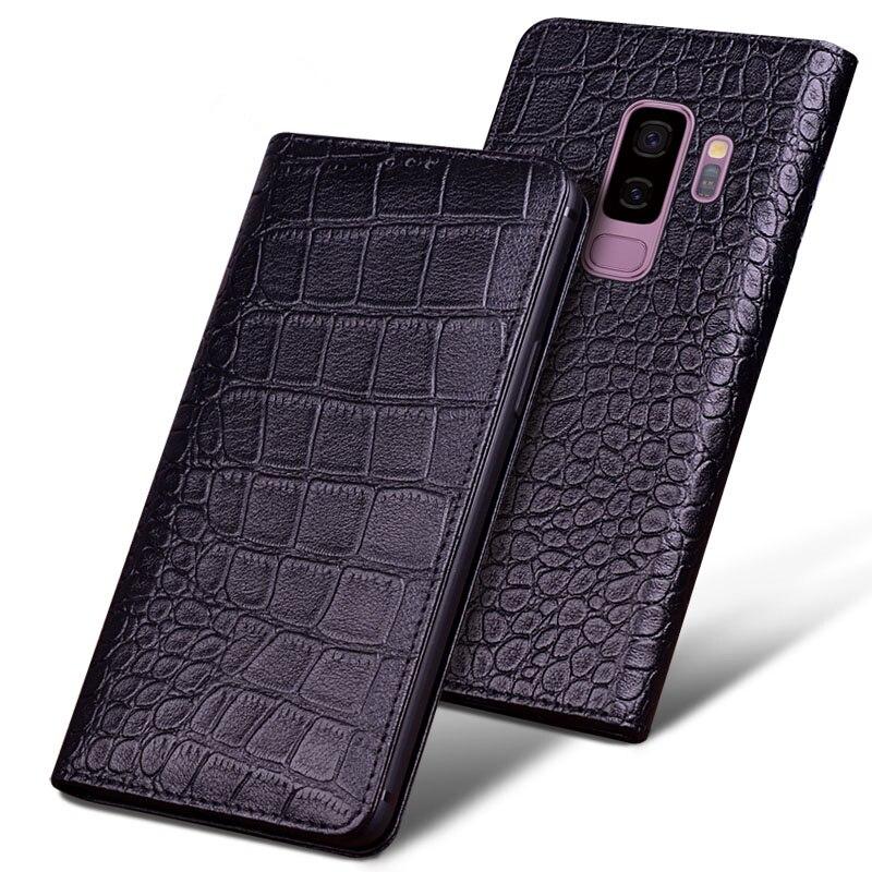 Бизнес чехол из натуральной кожи с магнитным держателем для телефона samsung Galaxy S9 Plus/samsung Galaxy S9 откидная крышка для телефона стоячая Капа