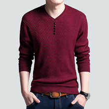 Hot Sale High Quality Sweater Men Casual V-neck Pullover Autumn Slim Fit Long Sleeve Shirt Mens Sweaters Knitted Cashmere