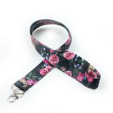 New Arrival Hot-selling ultra-soft Polyester Cell Phone Neck Lanyard Neck Straps for Smartphone Key ID Card Keychain Black Rose mbr cell power neck