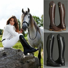 2019 Cool Women Rider Horse Riding Boots Smooth Leather Knee High Autumn Winter Warm Mountain