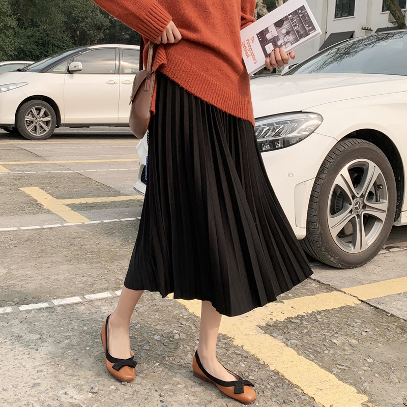 Autumn New Style Hong Kong Flavor Pleated Cream A- Line Skirt CHIC Solid Color Pleated Skirt Women's Mid-length Skirt