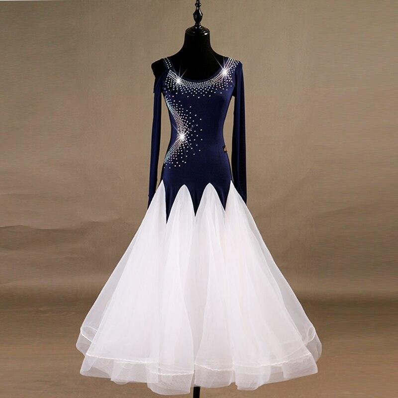 Lady Shiny Modern Standard Dance Practice Skirt Ballroom Waltz Dress Long Sleeve Elegant Tango Dance Performance Costume DQL1948