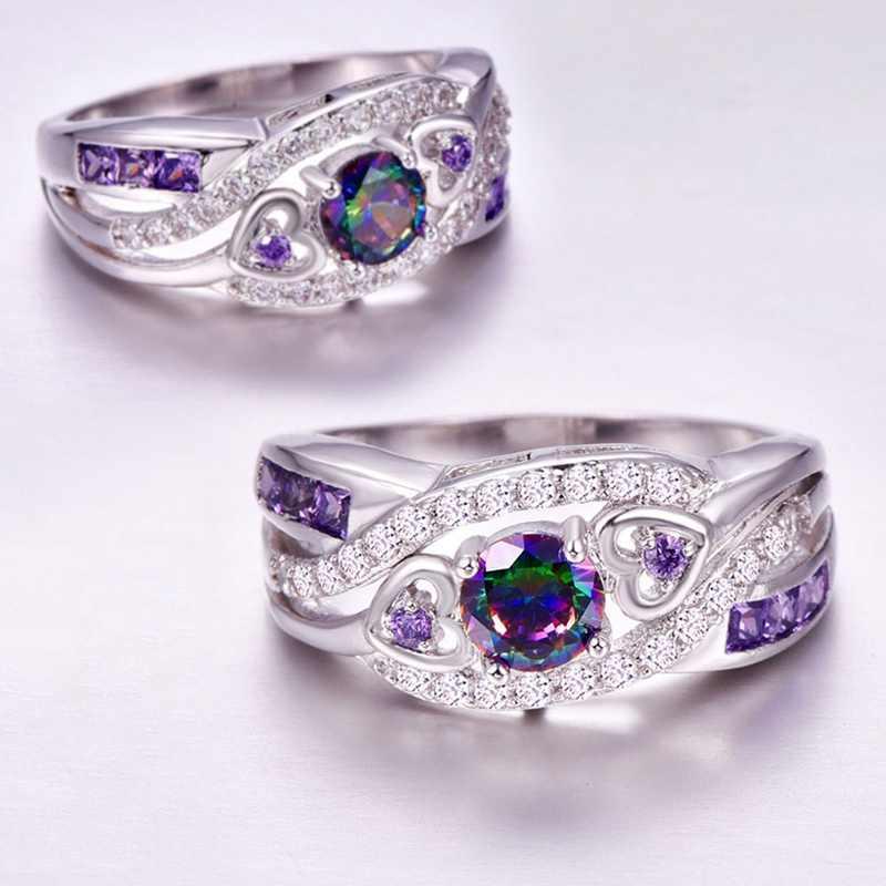 חדש הגעה סגלגל לב לחתוך עיצוב צבעים & סגול לבן CZ כסף צבע טבעת גודל 6 7 8 9 10 אופנה נשים תכשיטי מתנה