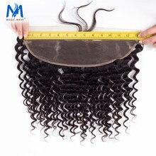 Onda profunda mágica cabelo encaracolado brasileiro laço frontal fechamento 13x4 nós descorados com cabelo do bebê 100% cabelo humano fronta