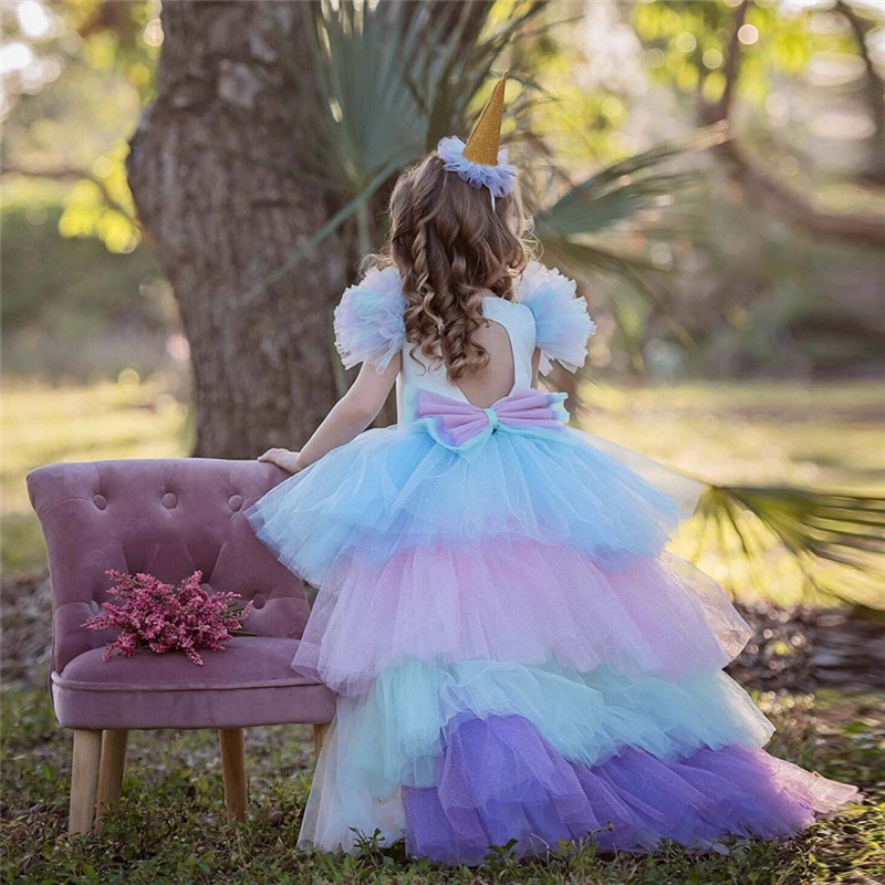 Christmas Girls Unicorn Dress with Long Tail + Wings Wig Hairband Baby Girl Princess Birthday Party Ball Gown Kids Horse Clothes 3