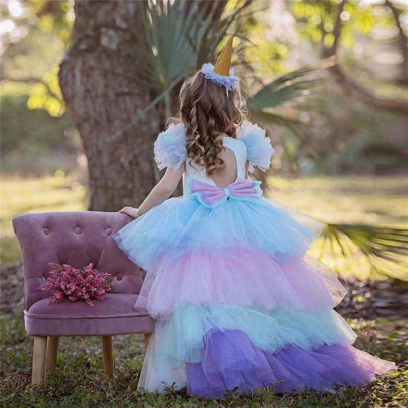 Noel kız Unicorn elbise uzun kuyruk ile + kanatları peruk kafa bandı bebek kız prenses doğum günü parti balo çocuklar at giysi