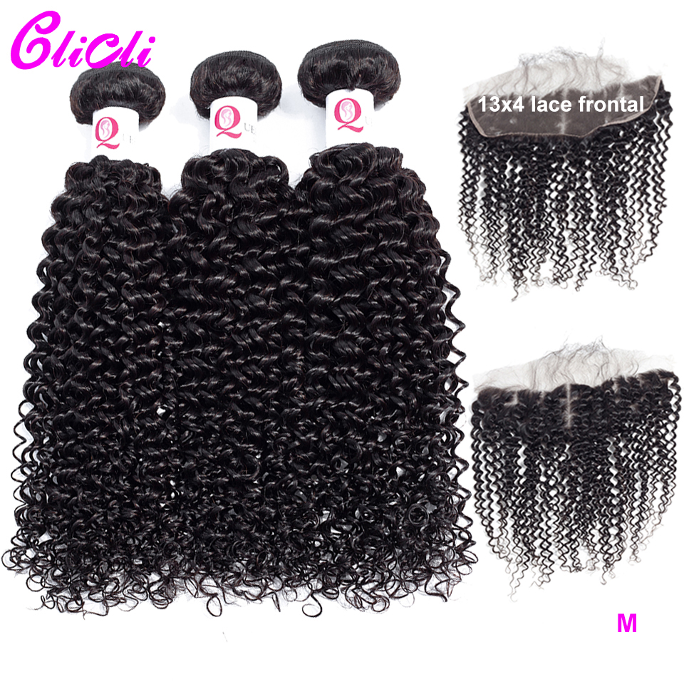 Kinky Curly Bundles With Frontal Brazilian Remy Human Hair 3 Bundles With 13x4 Transparent Lace Closure Free Middle Three Part