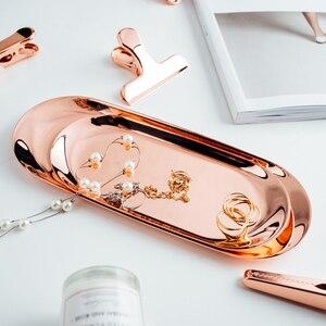 Rose złoty Metal taca Chic powłoka lustrzana proces owalne organizator tace prosty stół przekąska ciasto danie biżuteria patera
