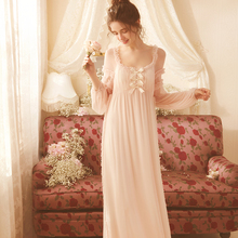Nightgown Elegant Princess Woman Lace Sleeve Long Nighty for Ladies 2 color Pink White