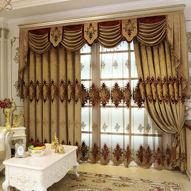 Coffee Thick Chenille Blackout Curtains For Living Room Bedroom Embroidered Tulle Curtain Custom European Style Home Decor 117#4