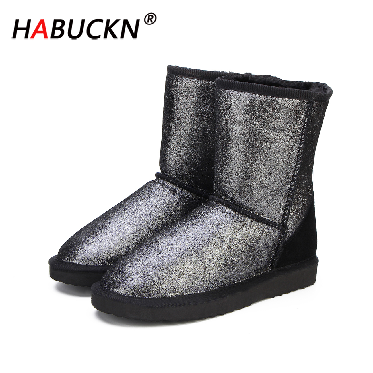HABUCKN 2020 Top Quality Genuine Leather Snow Boots for Women Waterproof Winter Boots Women Warm Boots 2 Colour shoes US 3-13 image