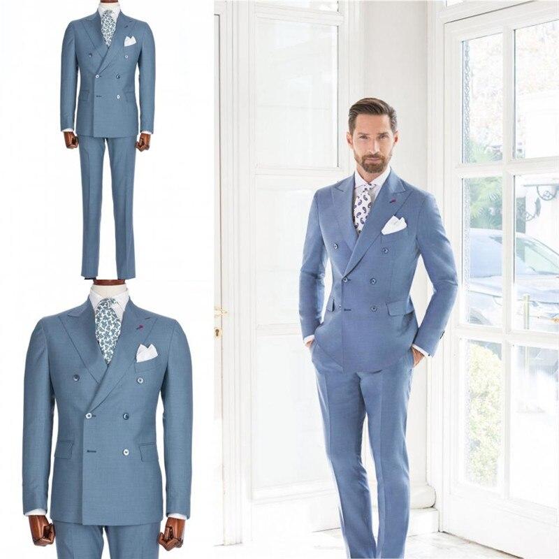 (Jacket+Pant+Tie)Handsome Men Wedding 2pcs Suit Male Blazers Slim Fit Suits For Men Costume Business Formal Party Blue Tuxedos