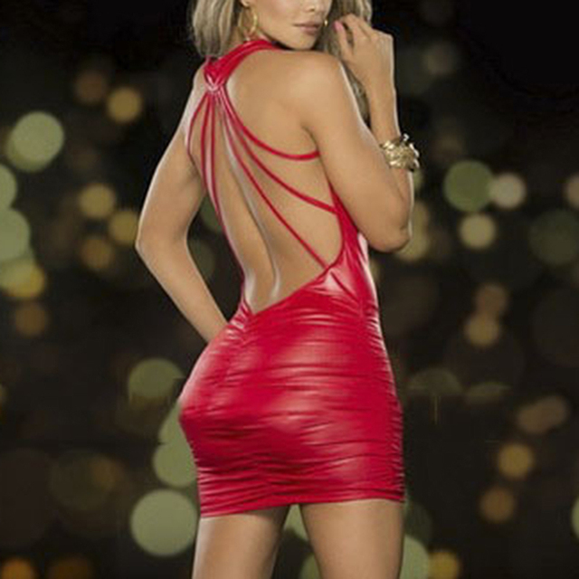 Sexy Women Exotic Dresses Wet Look Backless Bandage Deep V-Neck Dress Halter Latex Costume Party Night Club Pole Dance Dress 6