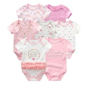 Image 3 - Vêtements dété pour bébés filles, 7 pièces/lot, barboteuse en coton unisexe de 0 à 12 mois, barboteuse dété pour bébés et garçons, vêtements à manches courtes, 2019