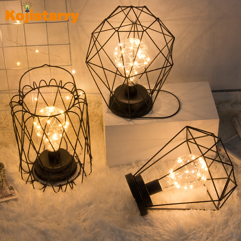 LED Small Table Lamp Iron Copper Wire Bedrooom Dormitory Beside Night Lamp Home Decoration Table Luminary Creative Geometric