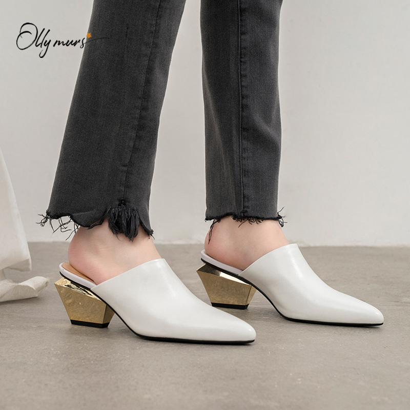 OllyMurs New Spring Summer Genuine Leather Shoes Woman Slippers Pointed Toe Chunky Heel Women Shoes Slippers Mules Shoes Woman