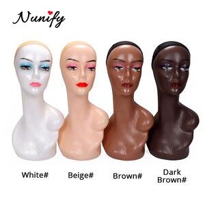 Nunify Beige/Drak Braun Perücke Display Mannequin Kopf Modell Kopf Haar Displayer Ausbildung Kopf Für Perücke Hut Schal Mannequin kopf