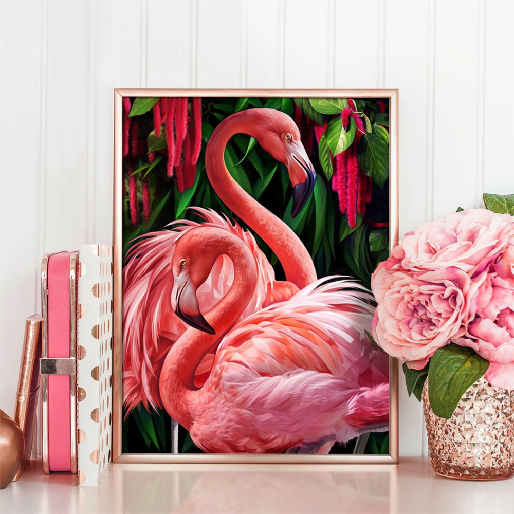 Huacan Diamond Painting Flamingo Full Drill Square Animal 5D Diamond Embroidery Rhinestone Picture Diamond Mosaic Gift Drop Ship image
