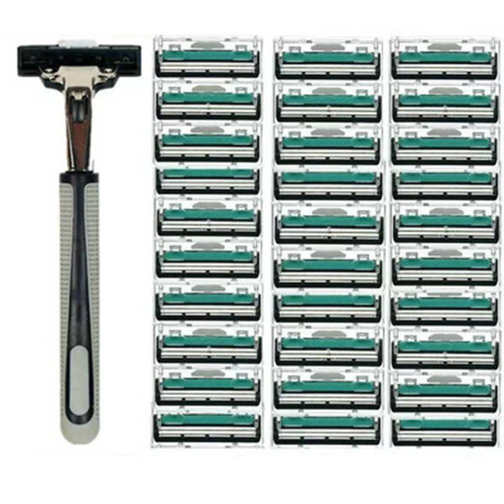 Men's Manual Razor Double Layer Razor 1 Knife Holder 30 Cutter Head Men's Beard Knife Razor Tool (with 30 Blades)