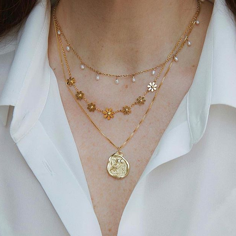 Tocona Fashion Geometric Pendant Necklace for Women Gold Flowers Wihite Pearl Stone Chain Chocker Jewelry Wholesale 8582