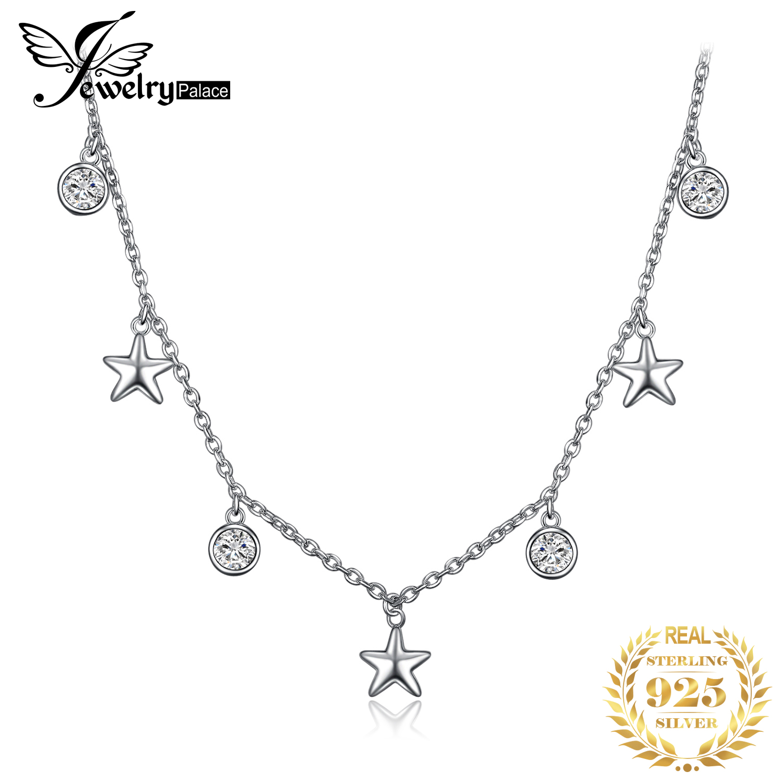 JewelryPalace Stern CZ Sterling Silber Anhänger Halskette 925 Sterling Silber Kette Halsband Aussage Kragen Halskette Frauen 45c