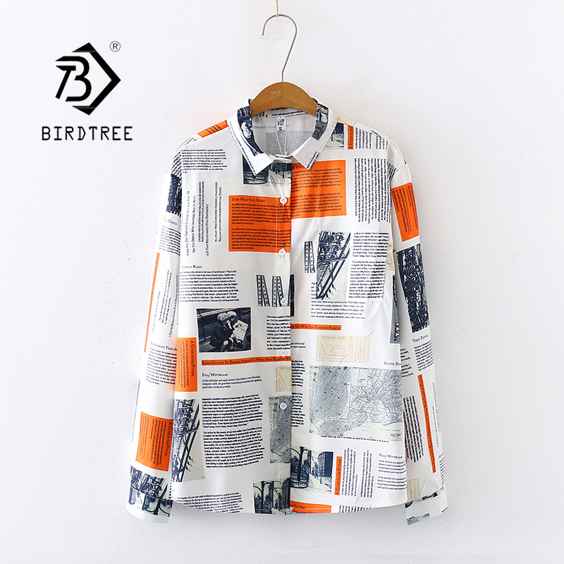 2020 Summer New Women Newspaper  Print Chiffon Blouse Autumn Long Sleeve Shirt Vintage Tops Casual Wear Feminina Blusa T02808Y