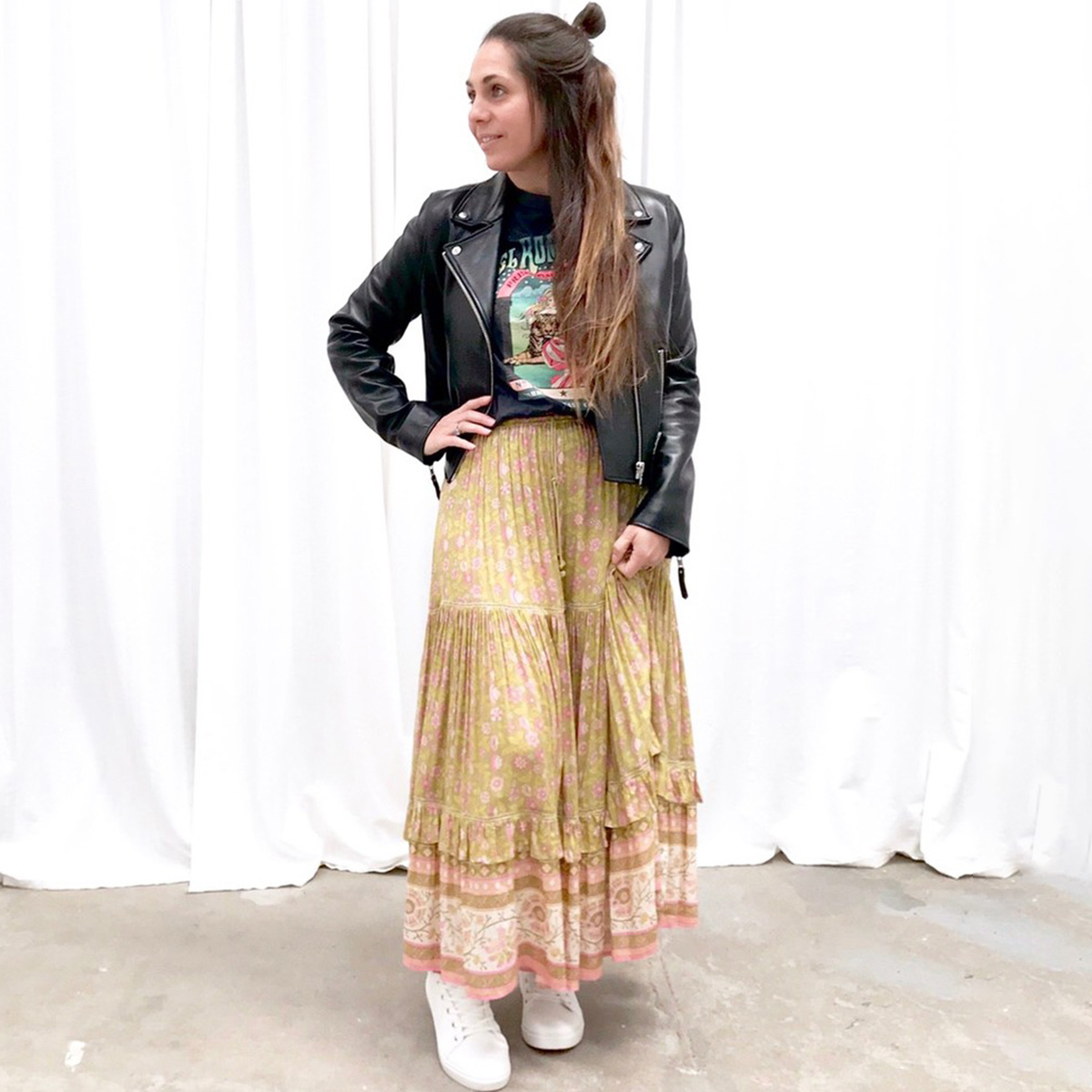 Jastie Dahlia Maxi Skirt Women Three Tiers Hem Hippie Chic Boho Skirts Beach Faldas Mujer Moda 2019 Autumn Skirt Saia Jupe Femme