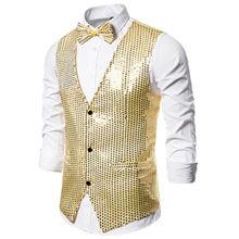 Stylish Men's Blazer Vest Coat Formal Slim  Shiny Sequin Glitter Embellished Blazer Jacket Sequin Party Stage Coat