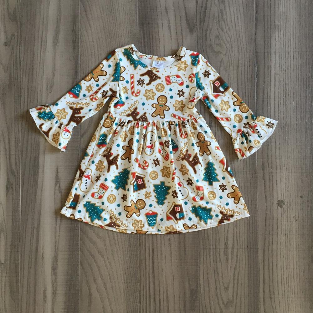Exclusive Girlymax Christmas Girls Children Clothes Baby Santa Claus Fall/Winter Long Sleeve Ruffles Milk Silk Dress Boutique 5