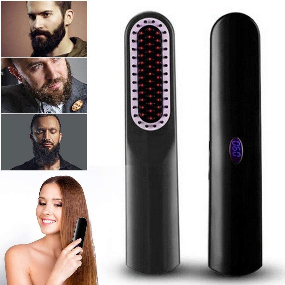 Beard Straightener Comb USB Cordless Hair Straightener Brush Hair Iron Straightening Men Quick Beard Straightener Styler Comb